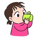 Милая питьевая вода маленькой девочки от стеклянного запаса вектора иллюстрация вектора
