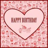 Милая поздравительая открытка ко дню рождения с днем рождений с пирожным иллюстрация вектора