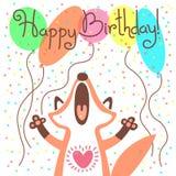 Милая поздравительая открытка ко дню рождения с днем рождений с смешной лисой Стоковые Изображения RF
