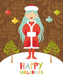 Милая поздравительная открытка. Девушка рождества с голубыми волосами. Иллюстрация вектора
