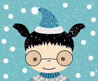 Милая поздравительная открытка девушки зимы Иллюстрация штока