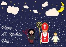 Милая поздравительная открытка шаржа с St Nicholas, ангелом и характером дьявола Стоковые Фото