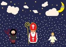 Милая поздравительная открытка шаржа с St Nicholas, ангелом и характером дьявола Стоковые Изображения RF
