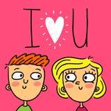 Милая поздравительная открытка doodle с счастливыми парами Стоковое Изображение