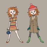 Милая предназначенная для подростков девушка в 2 обмундированиях моды Шаблон тела также вектор иллюстрации притяжки corel Стоковая Фотография RF