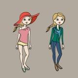 Милая предназначенная для подростков девушка в 2 обмундированиях моды Шаблон тела также вектор иллюстрации притяжки corel Стоковые Фотографии RF