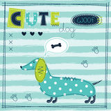 Милая предпосылка младенца с смешной собакой Стоковые Изображения