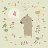 Милая предпосылка с медведем Стоковые Фотографии RF