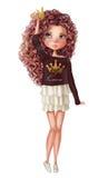 Милая принцесса моды с завитыми волосами иллюстрация штока