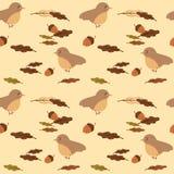 Милая птица и иллюстрация предпосылки картины листьев и жолудей безшовная бесплатная иллюстрация