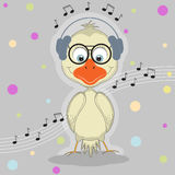 Милая птица шаржа с наушниками слушая к музыке Стоковые Изображения