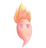 Милая пламенистая притяжка изверга карандаш Стоковые Изображения