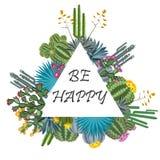 Милая рамка succulent и кактусов Счастливая карточка Стоковое Изображение