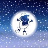 Милая рождественская открытка с овцами Стоковые Изображения
