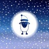 Милая рождественская открытка с овцами Стоковое фото RF