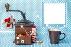 Милая рождественская открытка с пустой рамкой фото Стоковые Фотографии RF