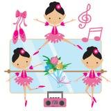 Милая розовая иллюстрация вектора балерины Стоковое Изображение RF