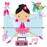 Милая розовая иллюстрация вектора балерины Стоковые Фото