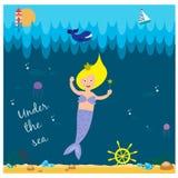 Милая русалка под морем Стоковые Фотографии RF