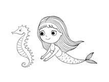 Милая русалка шаржа и лошадь моря сирена абстрактная тема моря предпосылки абстракции Объекты руки изолированные чертежом на бело иллюстрация вектора