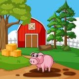 Милая свинья играя грязь в ферме бесплатная иллюстрация