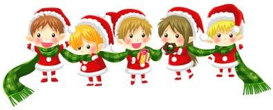 Милая связь эльфов рождества вместе с длинным шарфом (без bla Стоковые Изображения