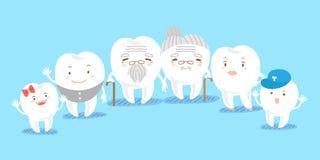 Милая семья зуба шаржа Стоковое Изображение