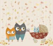 Милая семья сычей шаржа Стоковое Изображение