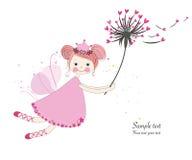 Милая сказка с поздравительной открыткой одуванчика иллюстрация штока