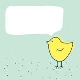 Милая смешная маленькая птица цыпленка с говоря пузырем Стоковая Фотография RF