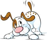 Милая собака машет его кабель и хочет сыграть - вектор иллюстрация вектора