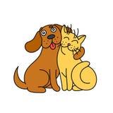 Милая собака обнимает кота иллюстрация Стоковые Изображения