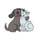 Милая собака обнимает кота иллюстрация Стоковая Фотография