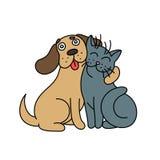Милая собака обнимает кота также вектор иллюстрации притяжки corel Стоковая Фотография