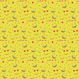 Милая сторона smiley, в предпосылке картины стороны влюбленности безшовной Стоковое фото RF