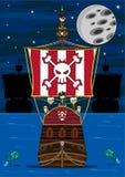 Милая сцена пиратов и корабля шаржа Стоковое фото RF