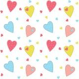 Милая сшитая предпосылка сердец Стоковое Фото