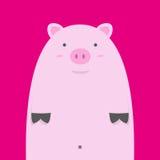 Милая тучная розовая свинья Стоковое Изображение RF