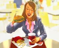 Милая усмехаясь женщина есть гамбургер бесплатная иллюстрация