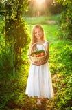 Милая усмехаясь маленькая девочка держит корзину с фруктом и овощем стоковые фотографии rf
