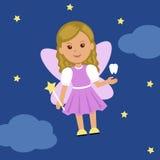 Милая фея зуба в платье с крылами и волшебной палочкой Стоковая Фотография