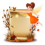 Милая фея с чистым листом бумаги во времени осени Стоковое Изображение