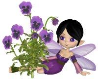 Милая фея Pansy Мультяшки фиолетовая, сидя Стоковая Фотография RF