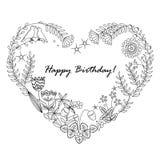 Милая флористическая предпосылка с рамкой сердца поздравительая открытка ко дню рождения счастливая Стоковая Фотография