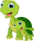 Милая черепаха и сын шаржа бесплатная иллюстрация