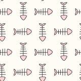 Милая черная белая розовая иллюстрация предпосылки картины косточки рыб безшовная Стоковое Изображение