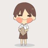 Милая школьная форма девушки белый вектор предпосылки Стоковое фото RF