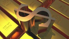 миллиард золота 4k & поворачивает символ доллара, товары финансов слитка богатства роскошные иллюстрация вектора