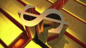 миллиард золота 4k & поворачивает символ доллара, товары финансов слитка богатства роскошные бесплатная иллюстрация