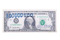 100 миллионов доллары банкнота, изолированная на задней части белизны Стоковые Фото